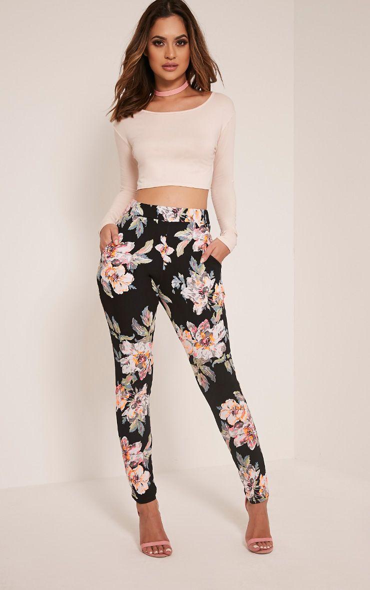 4c5d1bf79096 Erinna Neon Floral Crepe Cigarette Trousers
