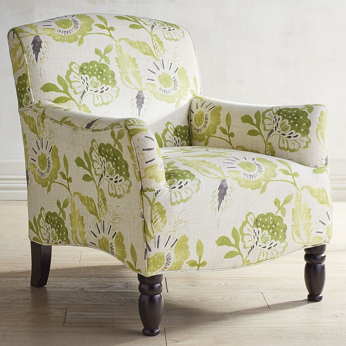 Frankie Cream & Green Floral Armchair | Pier 1 Imports | pier 1 ...