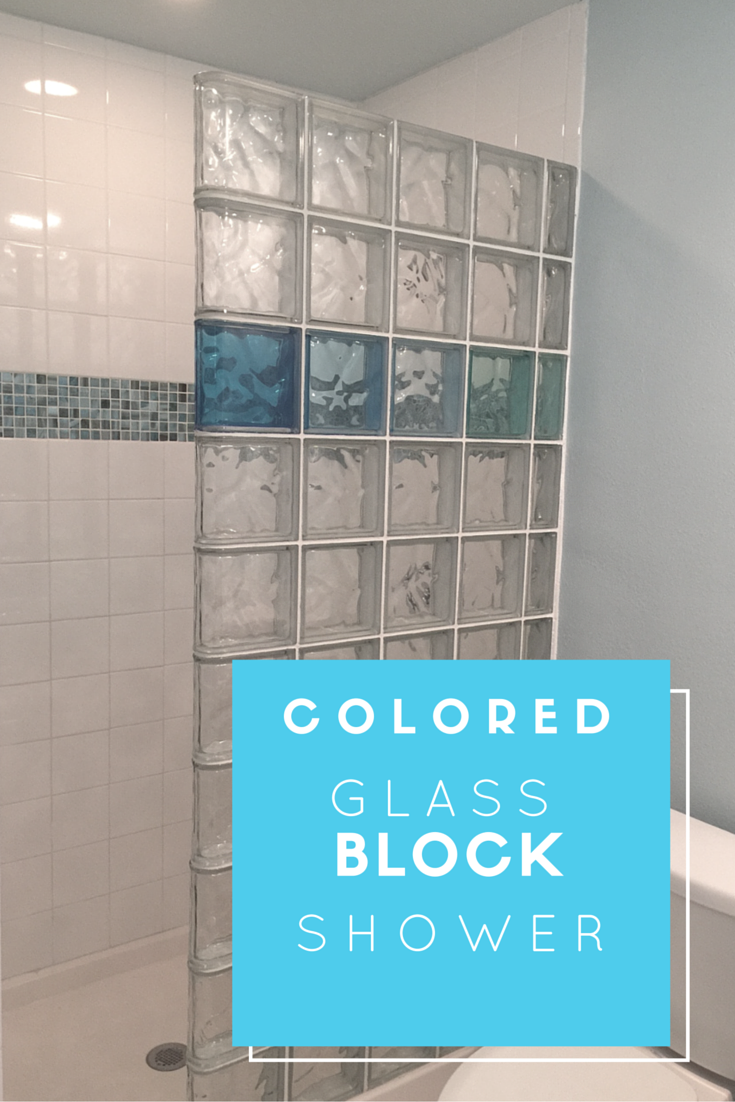 This vacation home combined a colored and durable glass block shower ...