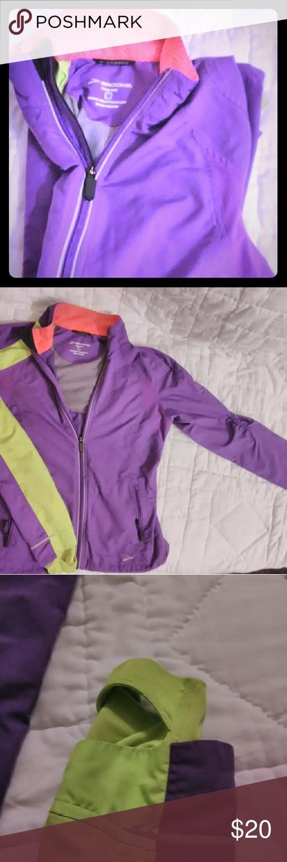 Brooks Shelter Technology Activity Jacket Brooks Mediumactivity Shelter Jacket Purple Green And Pink 80 Polyester 20 Spandex Jackets Clothes Design Brooks