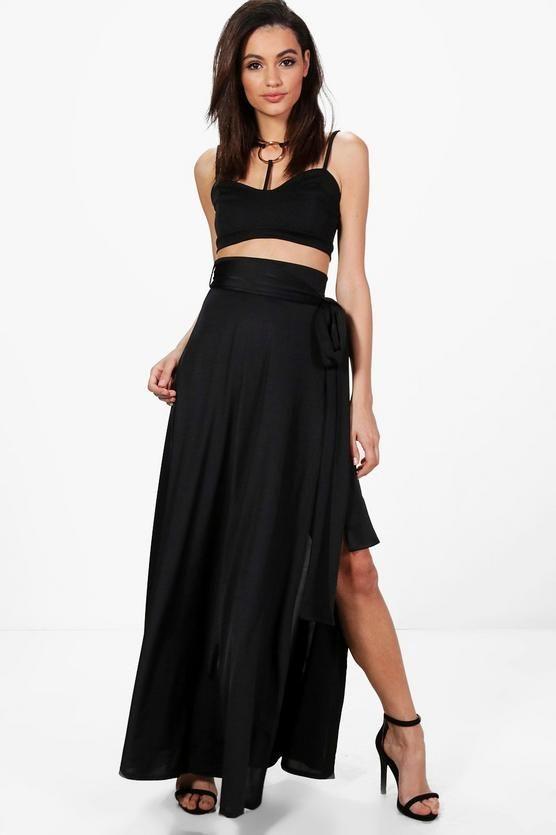0e7651cebb Obi Tie Thigh Split Maxi Skirt | Boohoo Maxi Skirt Black, Fashion Outfits,  Fashion