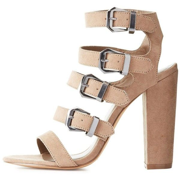 f52a952ac6f Charlotte Russe Strappy Buckled Chunky Heel Sandals ( 39) ❤ liked on Polyvore  featuring shoes
