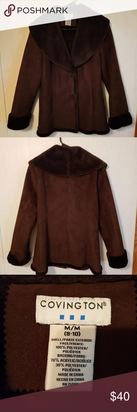 Covington Faux Fur Coat Like New Fantastic Condition Brown Very Warm Size Medium Has Two Buttons On The Front Covi Faux Fur Coat Fur Coat Clothes Design [ 1740 x 580 Pixel ]