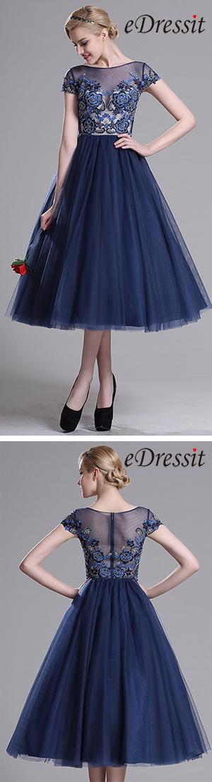 [USD 179.99] eDressit Navy Blue Illusion Neck Cocktail Party Dress (04161805)