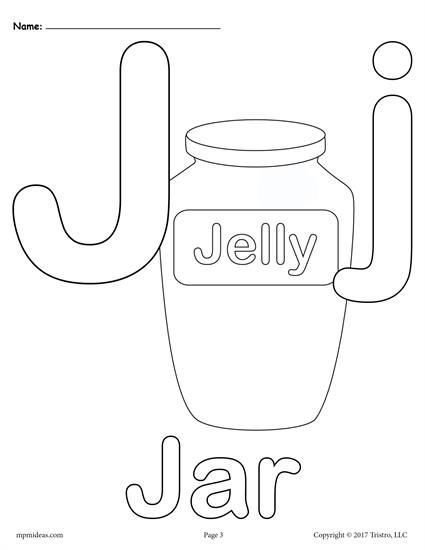 Letter J Alphabet Coloring Pages - 3 FREE Printable Versions!