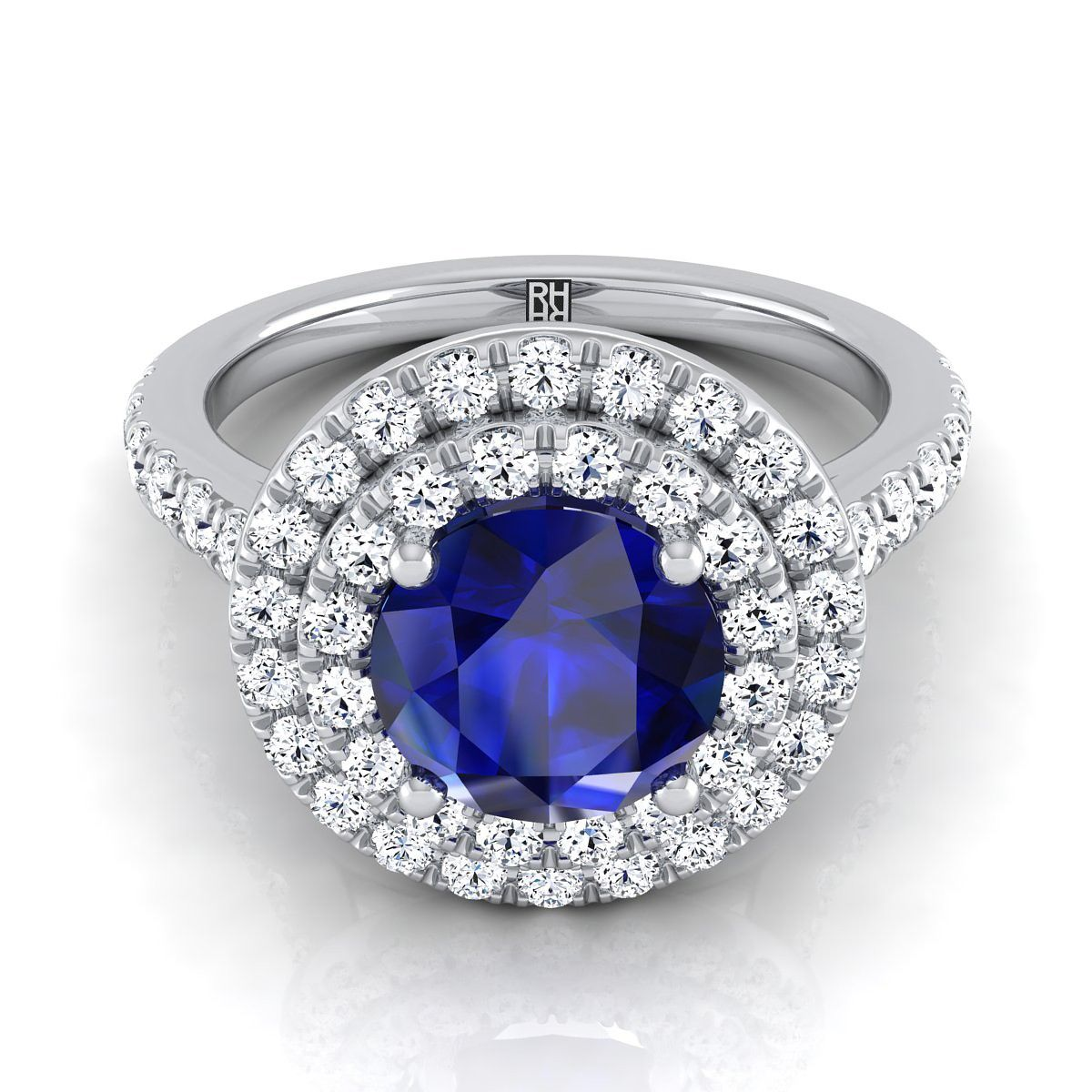 Sapphire Round Center Engagement Ring With Diamond Double