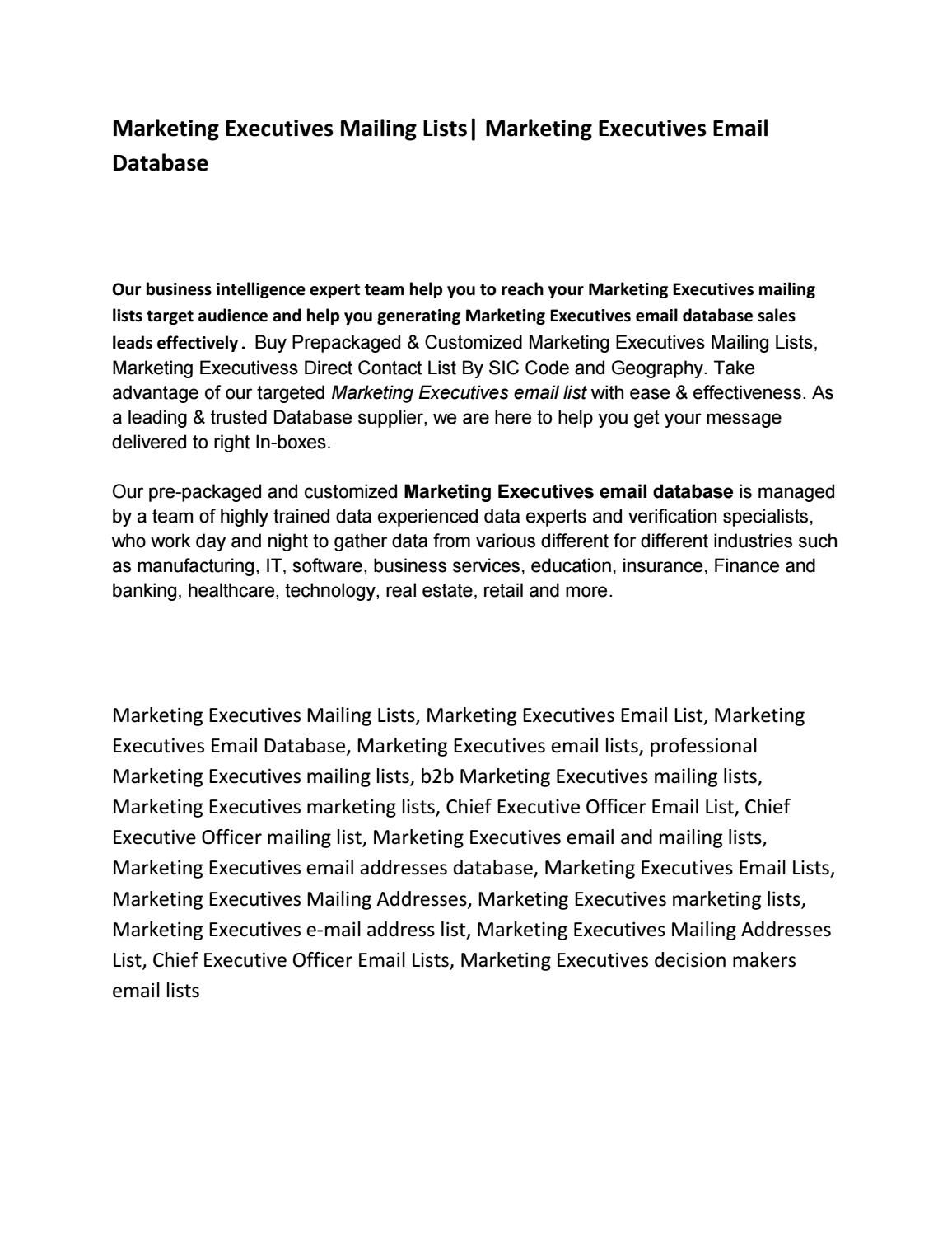 Marketing executives mailing lists (With images) Mailing