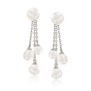 Ross-Simons - 5-7mm Shell Pearl Jewelry Set: Earrings and Tassel Earring Jackets in Sterling Silver - #869765