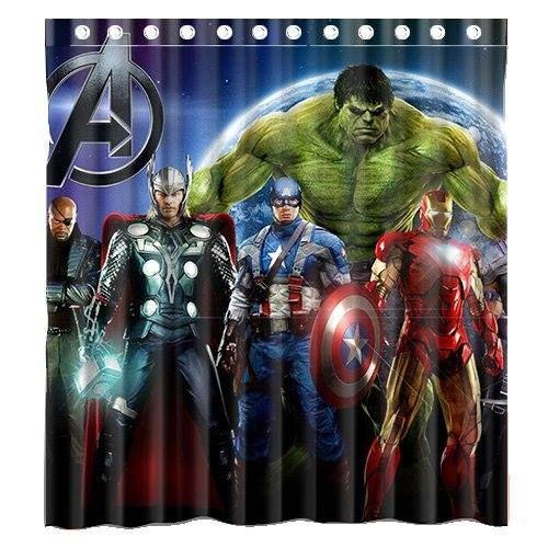Custom Marvel Comic American Movie Superhero The Avengers Waterproof  Polyester Fabric Bathroom Shower Curtain Standard Size