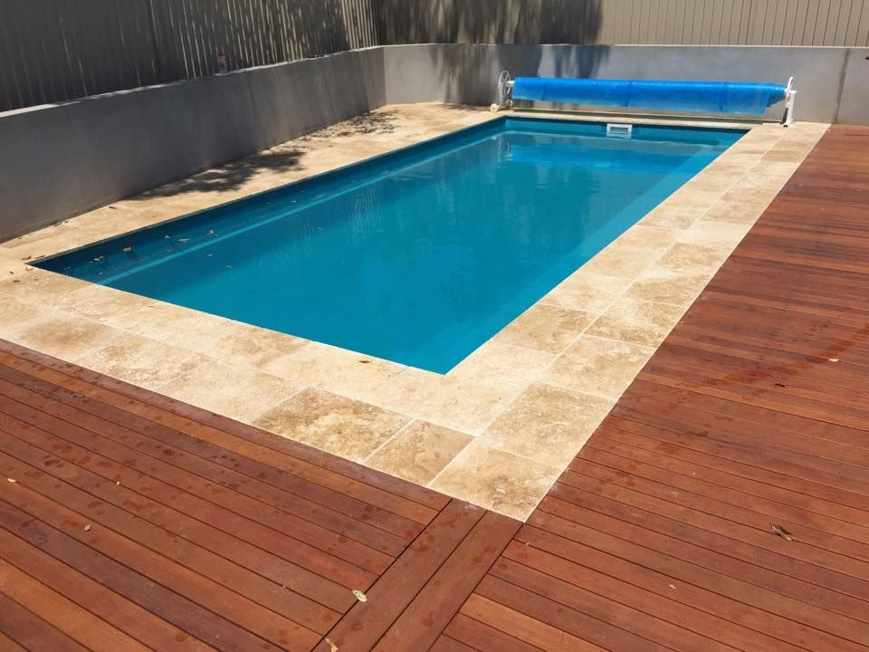 Travertine Meets Timber Decking Landscaping Around Pool Simple Pool Decks Around Pools