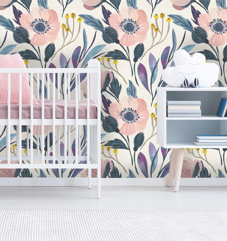 Removable Wallpaper Mural Peel Stick Nursery Wallpaper Self Adhesive Wallpaper Vintage Style Floral Nursery Wallpaper Vintage Nursery Self Adhesive Wallpaper
