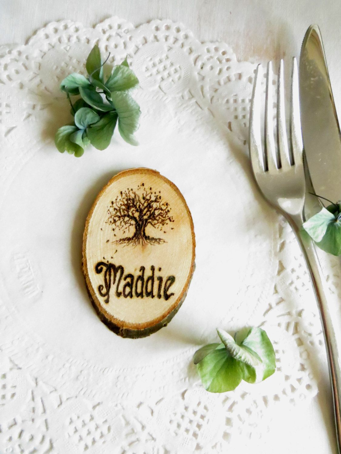 Wedding place cards - 10 Personalised wooden place settings - Tree ...