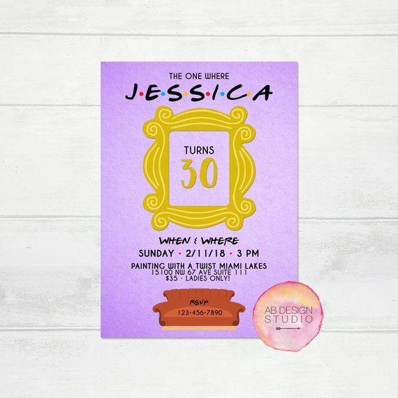 Friends TV Show Invitation Birthday Bachelorette Bridalshower