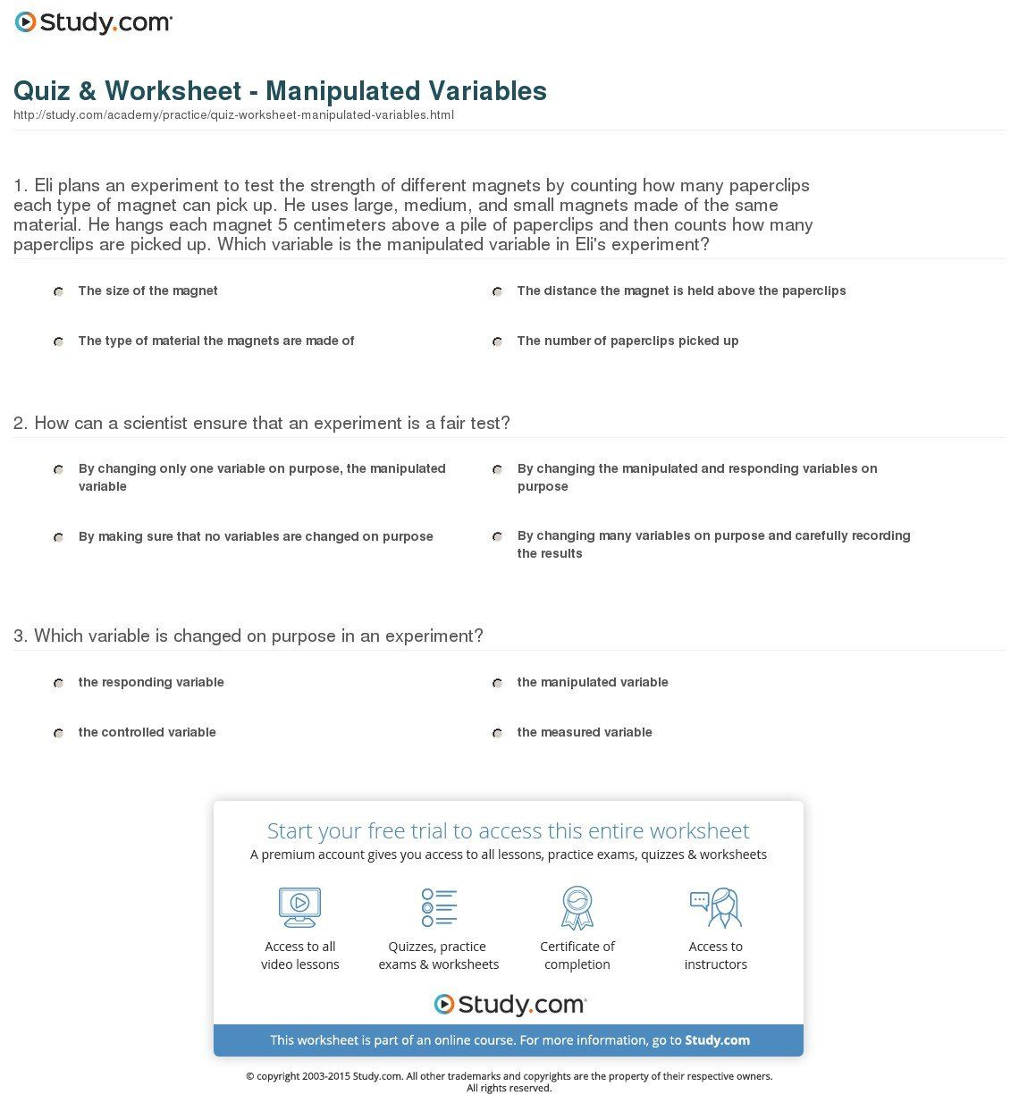 Manipulated And Responding Variables Worksheet Answers Reading Worksheets Journal Writing Worksheets