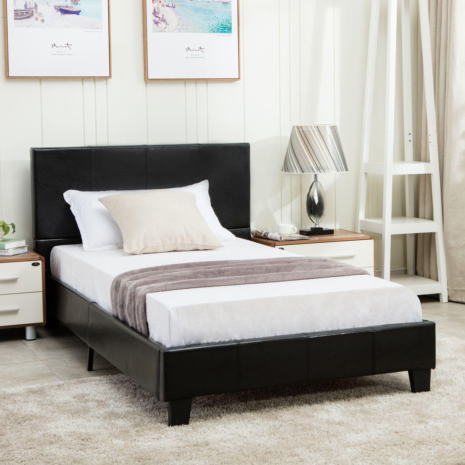 Full Size Faux Leather Platform Bed Frame Slats Upholstered