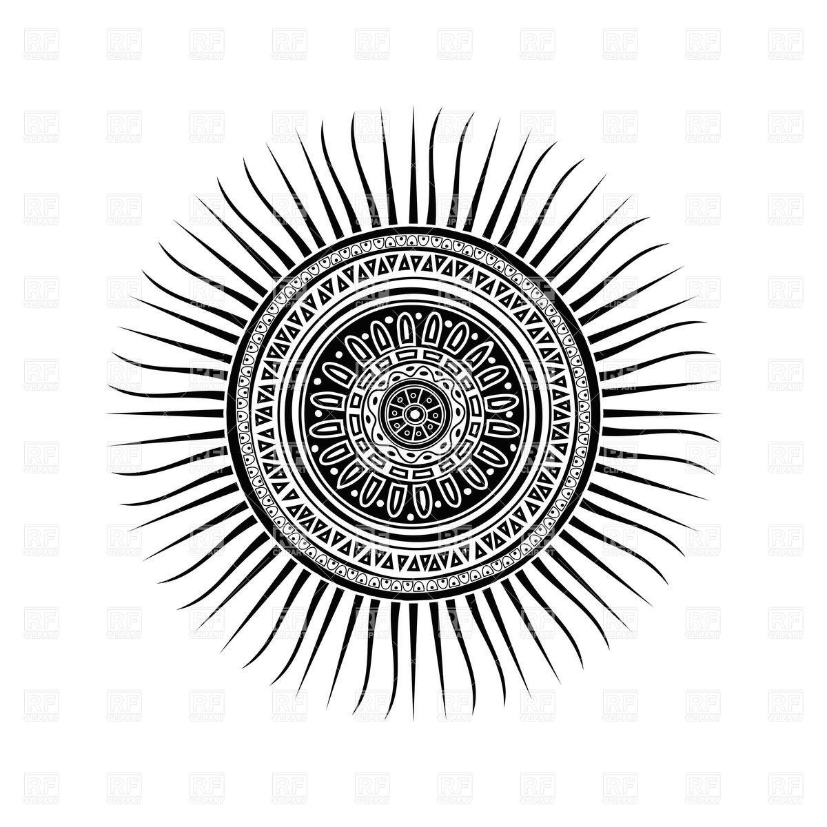 Mayan Sun Symbol Round Tattoo Ornament Vector Image