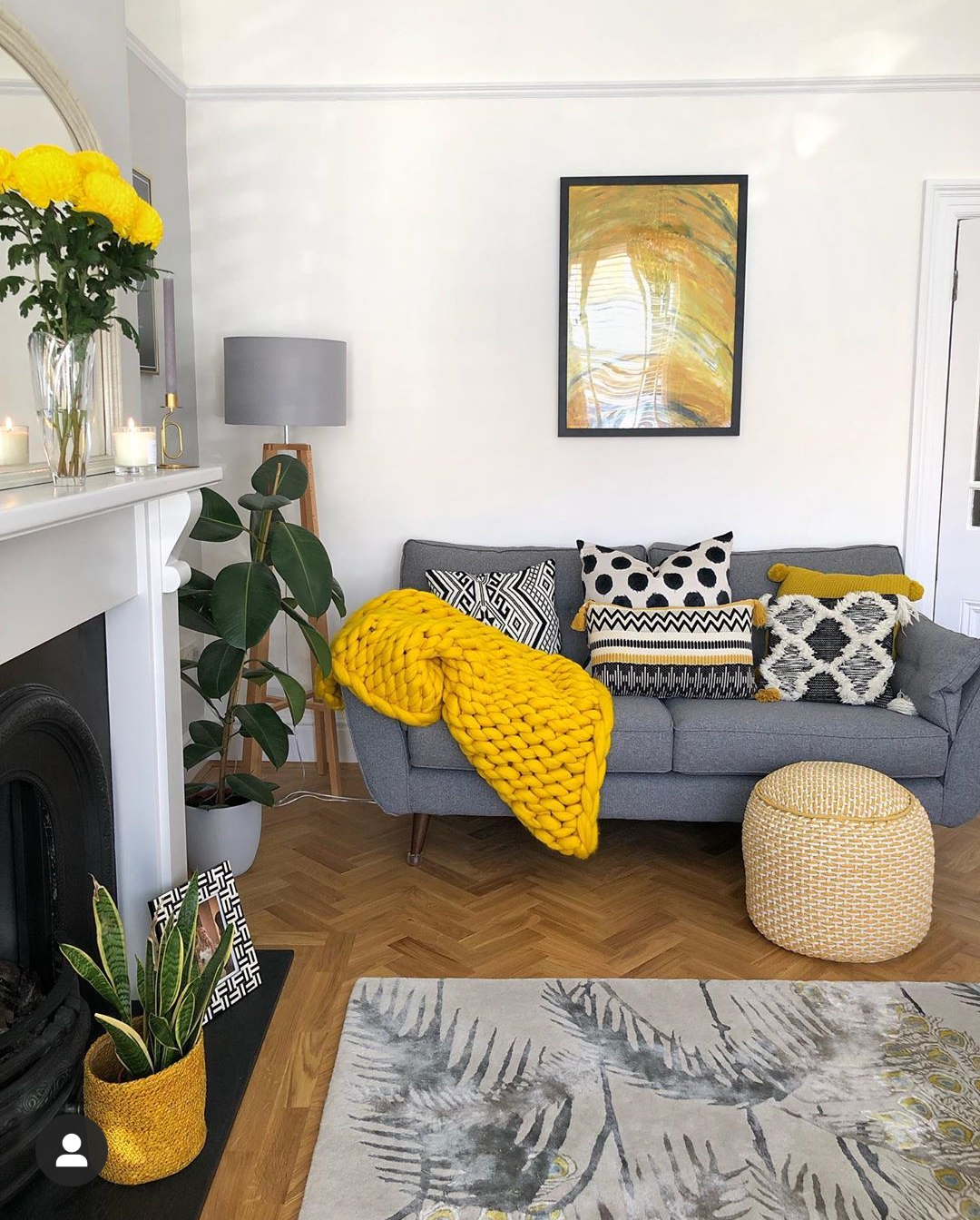 grey mustard gold accents in 2020  yellow decor living