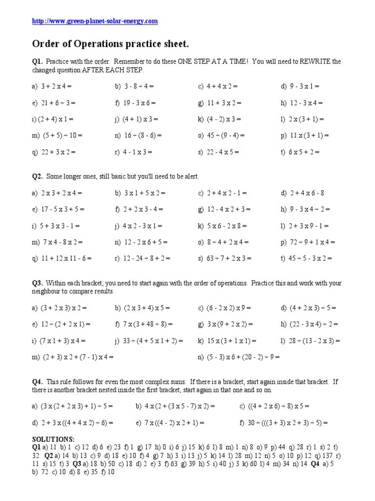 Order Of Operations 1 Order Of Operations Bodmas 6th Grade Worksheets