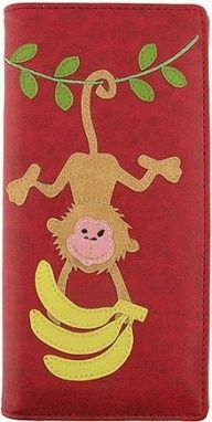 Monkey Hanging w/ Bananas Applique Red Wallet
