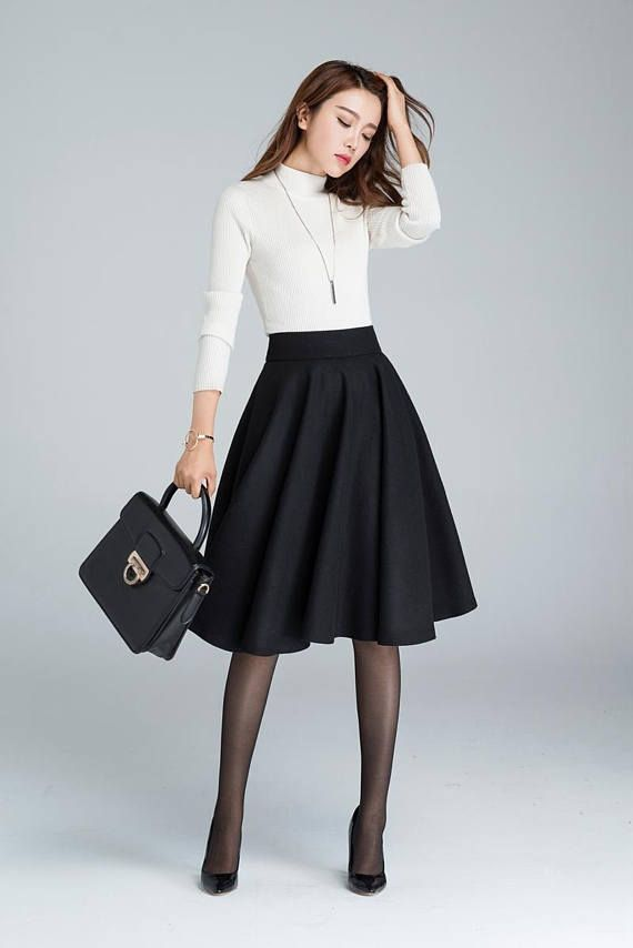 5ae36d640dbc Black Pleated Skirt Outfit