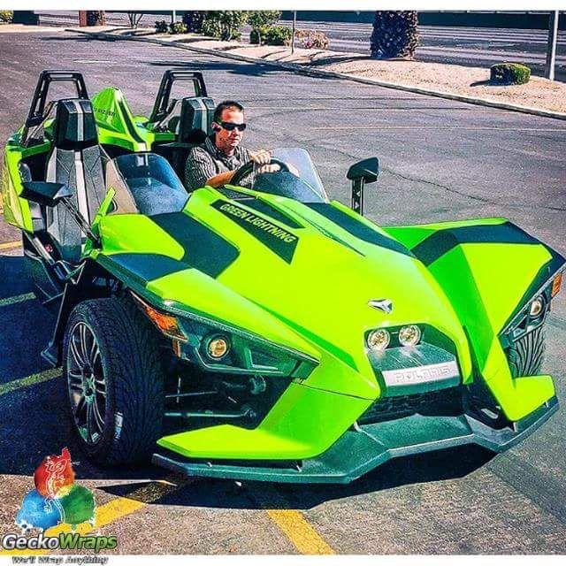 Electric Wrap On A Polaris Slingshot In Avery Dennison Sw900 Gloss Gr Green Thanks Geckowraps