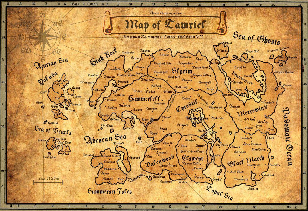 Oblivion Karte.Ancient Map Of Tamriel By Andrewscrolls Elder Scrolls Skyrim Map