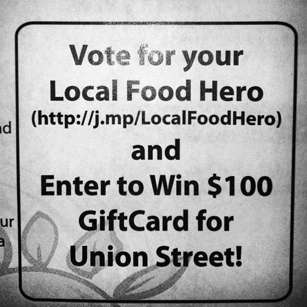 For the September #localfoodhero promotion, sponsor Union Street Grill placed this illustrative graphic (with short URL to promo details) on their menu and daily fresh sheets.