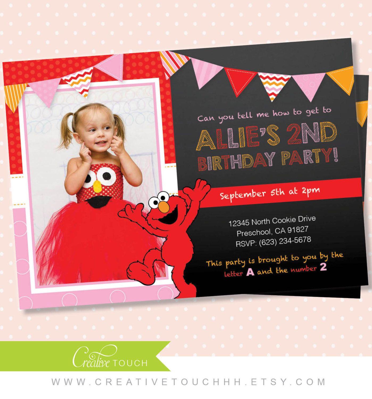 Elmo Invitation, Girl Elmo Invite, Pink, Elmo Birthday, Sesame ...