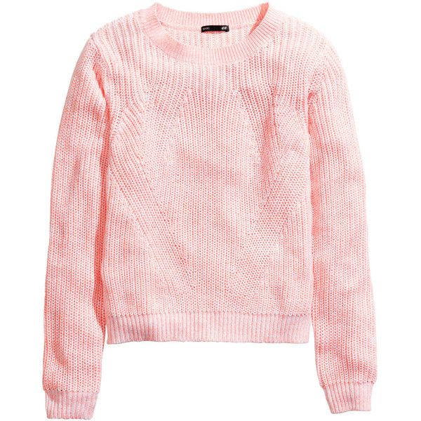 36c131024d9766 H&M Knitted jumper ($10) ❤ liked on Polyvore featuring tops, sweaters, h&m,  shirts, light pink, jumper top, shirt sweater, jumper shirt, pink jumper  and ...