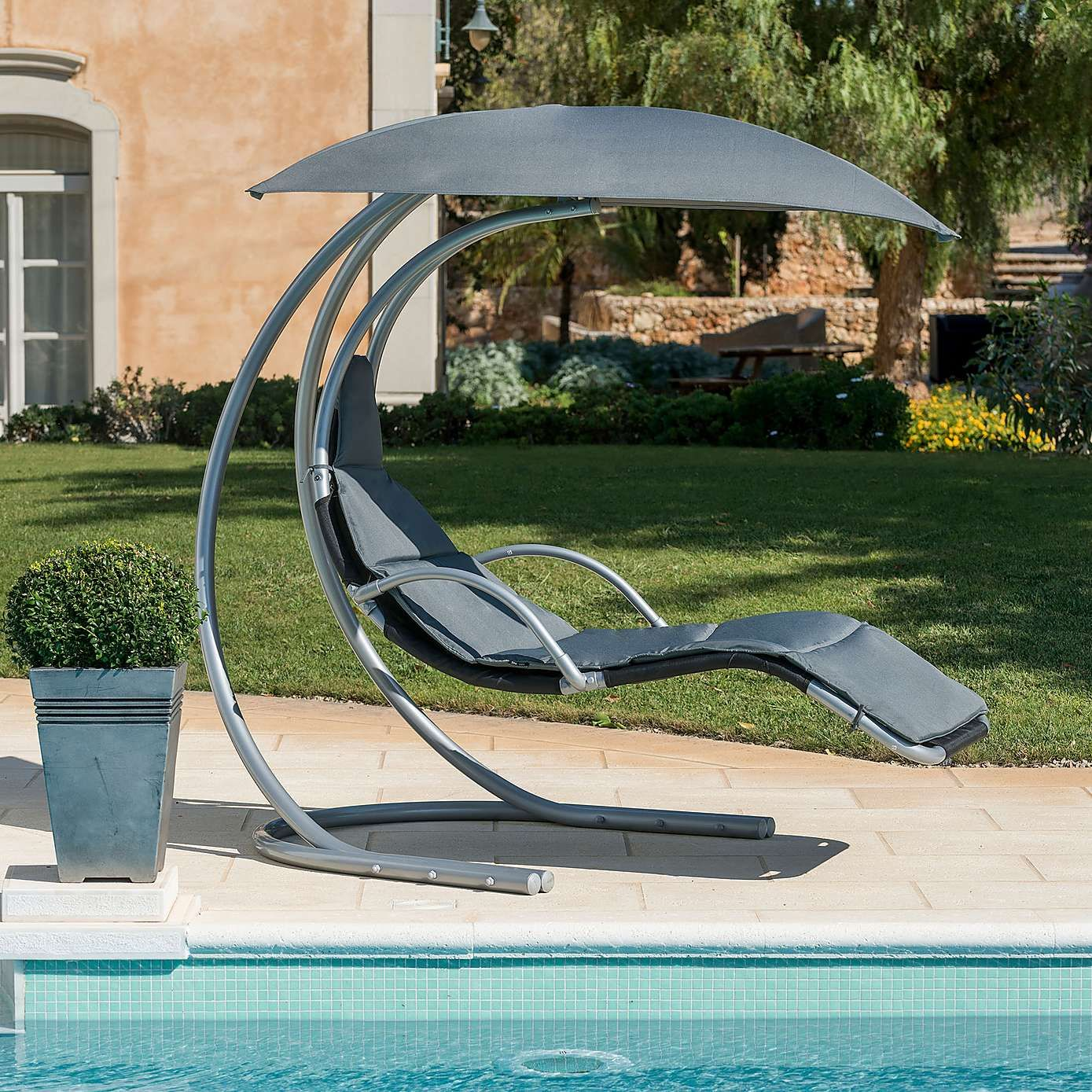 grey helicopter chair summer outdoor lounger - Garden Furniture Loungers