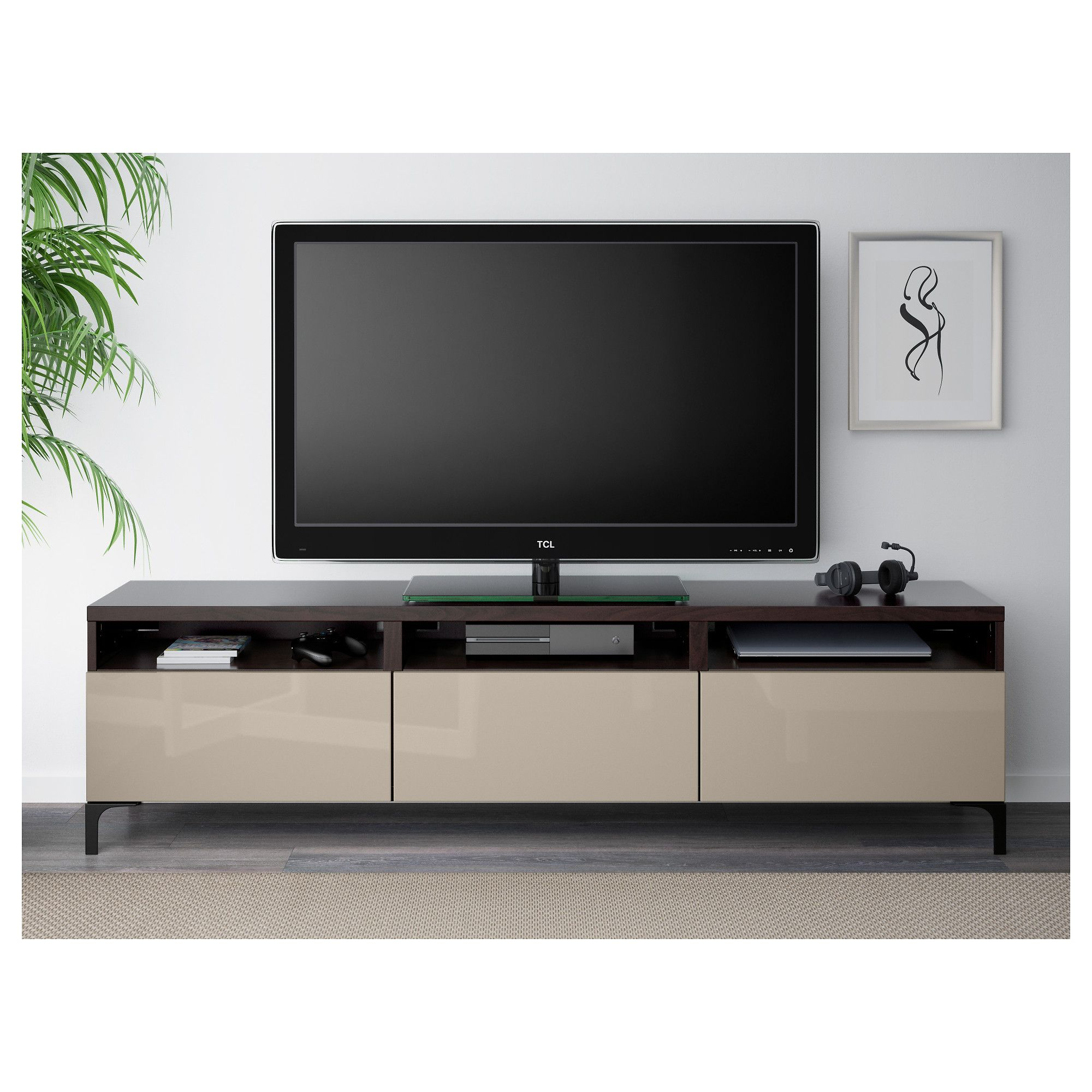 ikea - bestÅ tv unit with drawers black-brown, selsviken   mueble