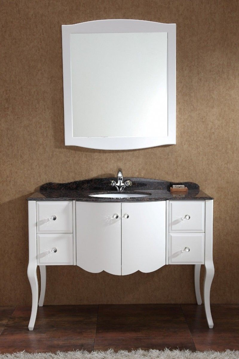 Shabby Chic White Bathroom Vanity Idea with Gorgeous Dark Granite Vanity  Top and Undermount Sink and