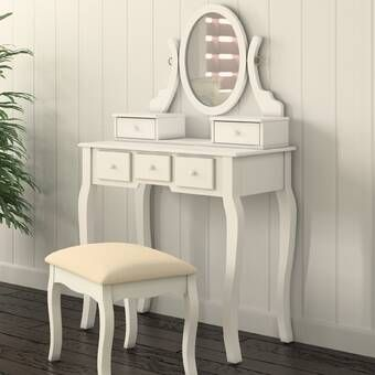 Zeke Wood Makeup Vanity Set With Mirror Bedroom Makeup