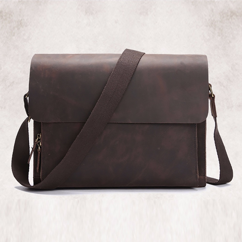 76.71$  Watch here - http://aliytg.worldwells.pw/go.php?t=32759345334 - Top Quality Crazy Horse Genuine Leather Shoulder Bag Cross Body Designer Vintage Messenger Computer Bag Mens Business Briefcase