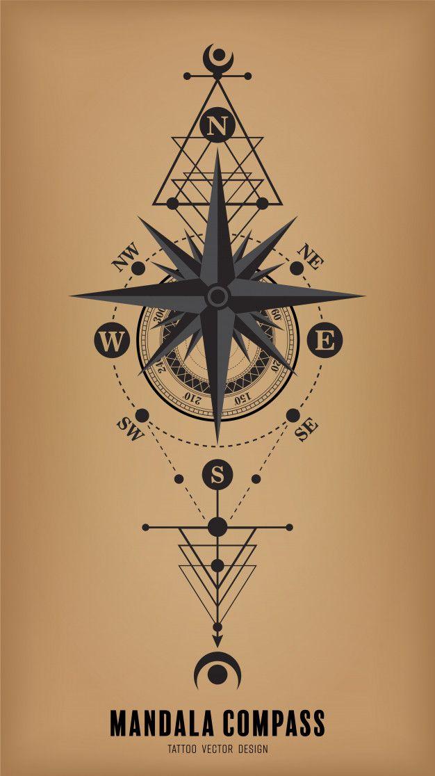Diseño de vector de tatuaje brújula mandala Vector Premium
