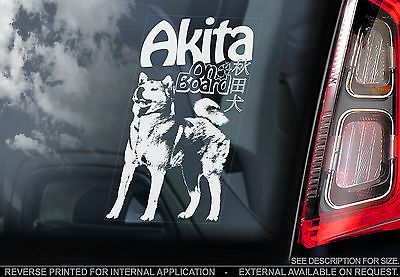 Car Window Sticker V01 Japanese Akita on Board Inu Ken Sign Decal Gift Idea