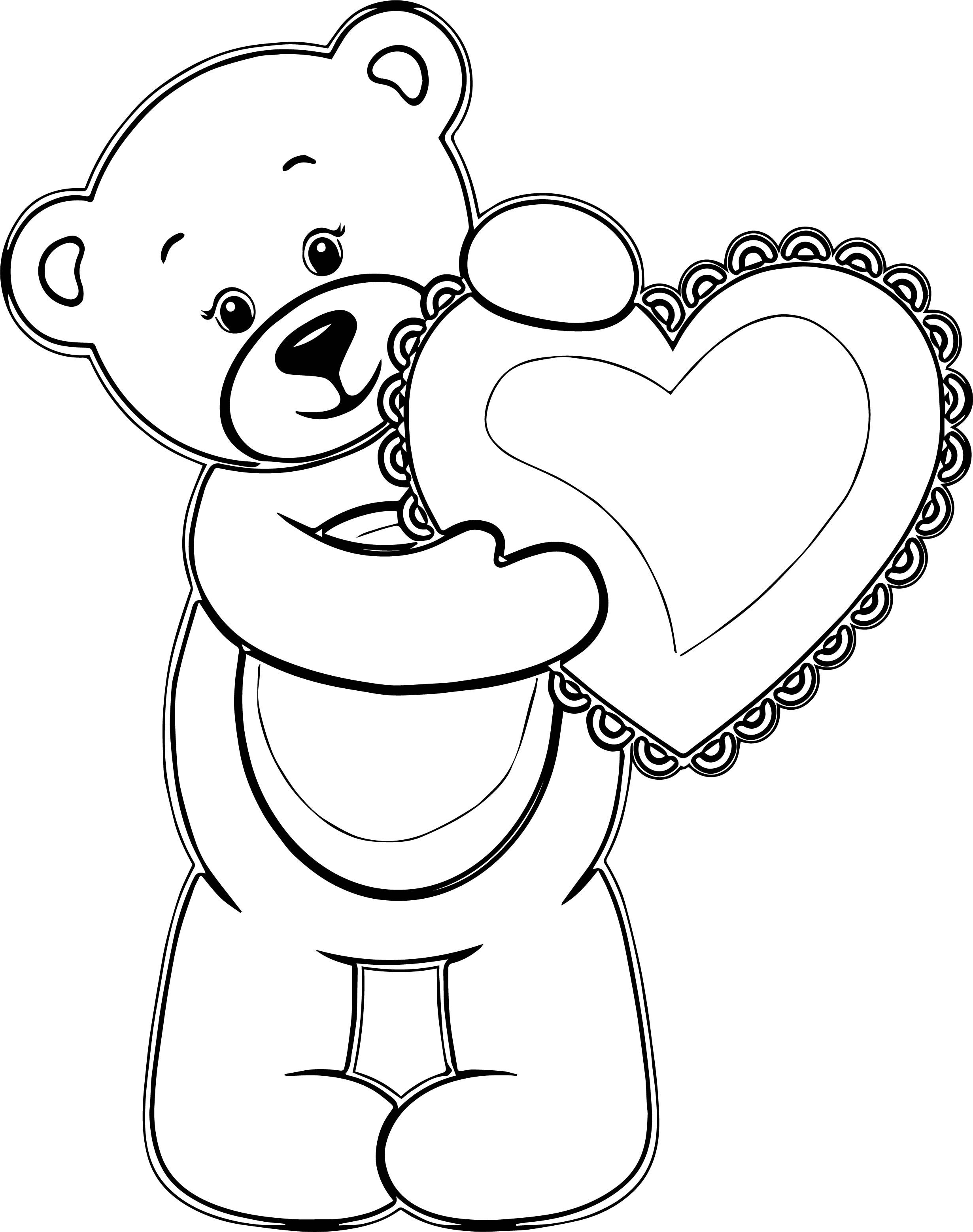 awesome Girl Bear Heart Coloring Page Bear coloring