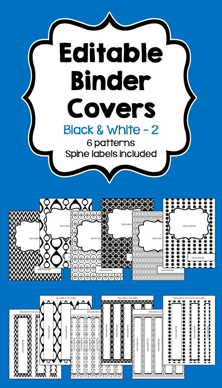 Editable Binder Covers And Spines In Black And White Editable Binder Editable Binder Covers Binder Covers Binder spine template 1 inch