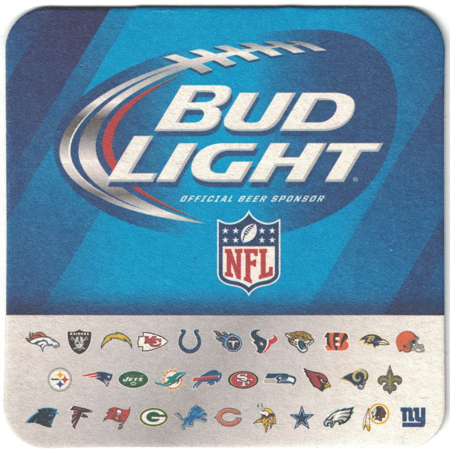 Bud Light NFL Beer Coaster Nfl beer, Beer coasters, Beer