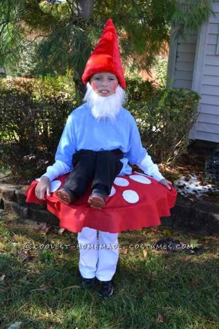 Cool Homemade Costume Garden Gnome Sitting On Top Of A