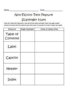 Non-fiction text scavenger hunt... What Fun! Simply SWEET TEAching ...
