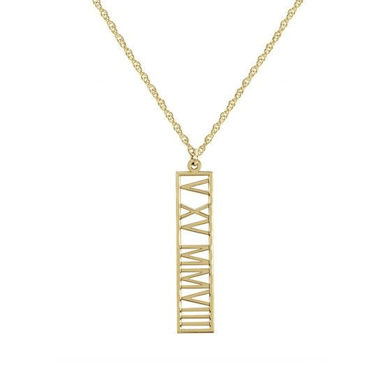 Zales Roman Numeral Vertical Pendant in 10K Gold (8 Characters) 5JuAv