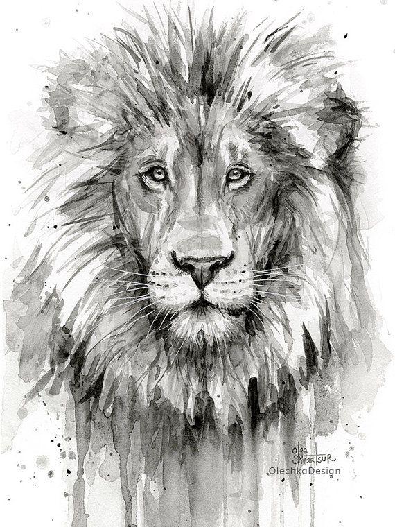 lion peinture aquarelle lion noir et blanc impression d art chambre d enfant jungle animaux. Black Bedroom Furniture Sets. Home Design Ideas