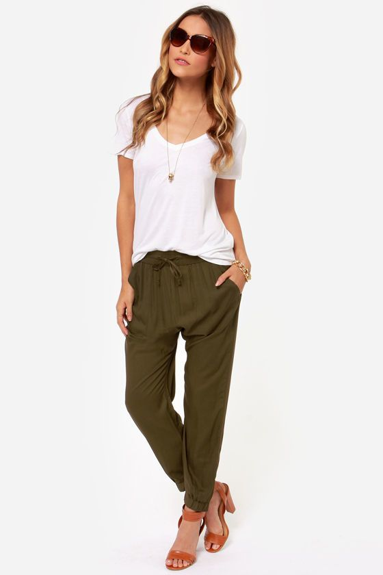 49042d94c88a8 Obey Outsider Olive Green Harem Pants in 2019 | I'd so wear that | Fashion,  Green joggers, Jogger pants outfit dressy