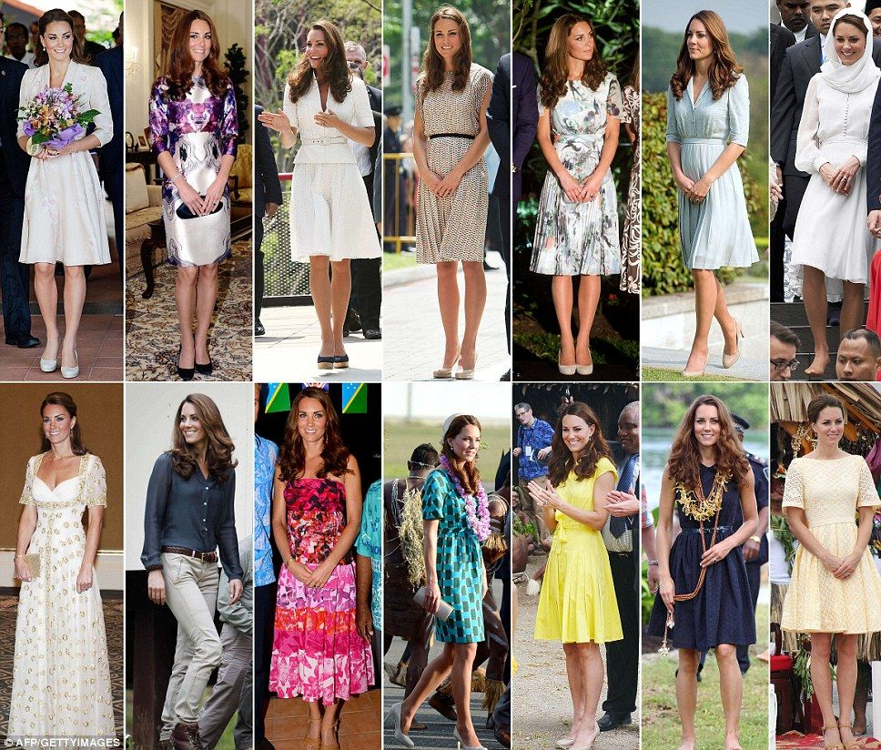 This combination of pictures shows outfits worn by Catherine, Duchess of Cambridge, during her recent nine-day Southeast Asian and Pacific tour marking Queen Elizabeth II's Diamond Jubilee