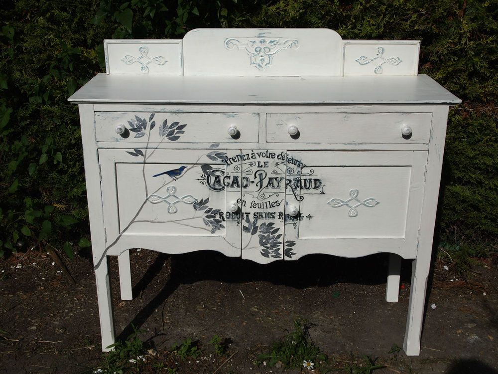 vintage sideboard cabinet shabby chic decoupage painted french blue white cream french blue. Black Bedroom Furniture Sets. Home Design Ideas