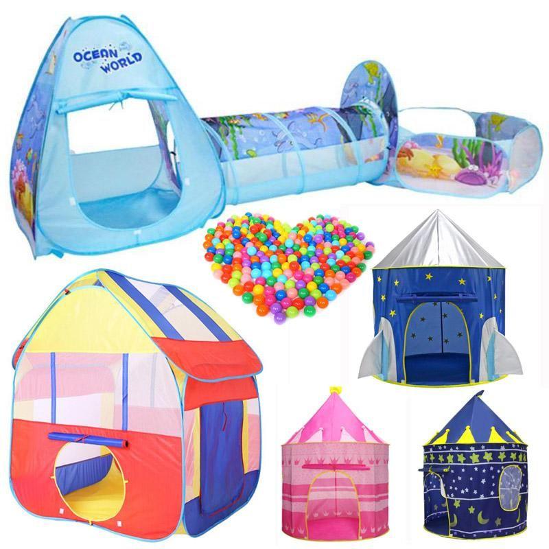 3pcs Set Foldable Pool Tube Teepee Baby Play Tent House Infant
