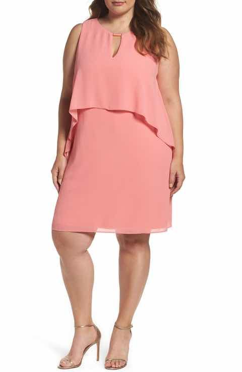 Women Vince Camuto Womens Plus Size Printed Shift Dress With