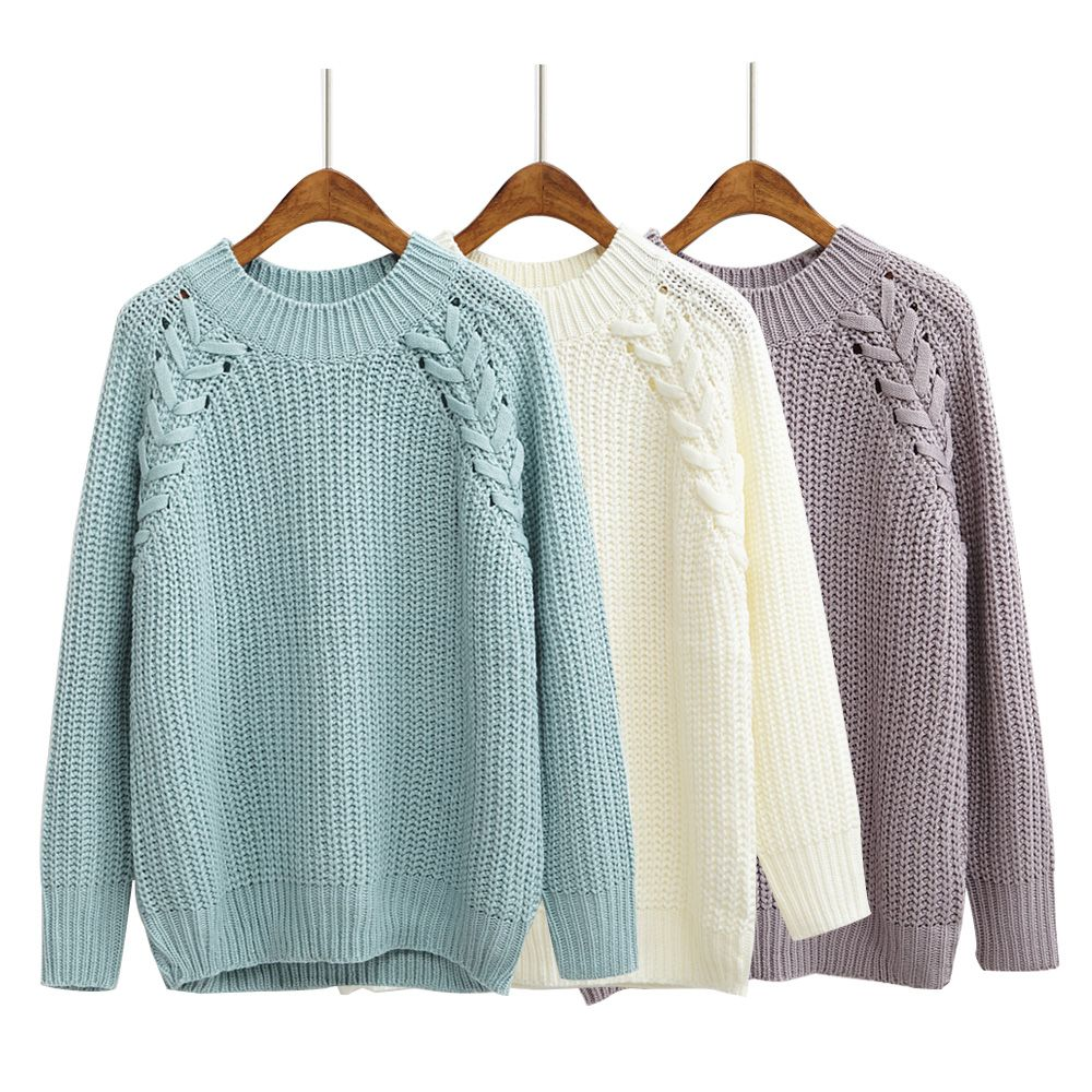 Women'S Kawaii Solid Color Twisted Raglan Sweater Korean Coarse ...