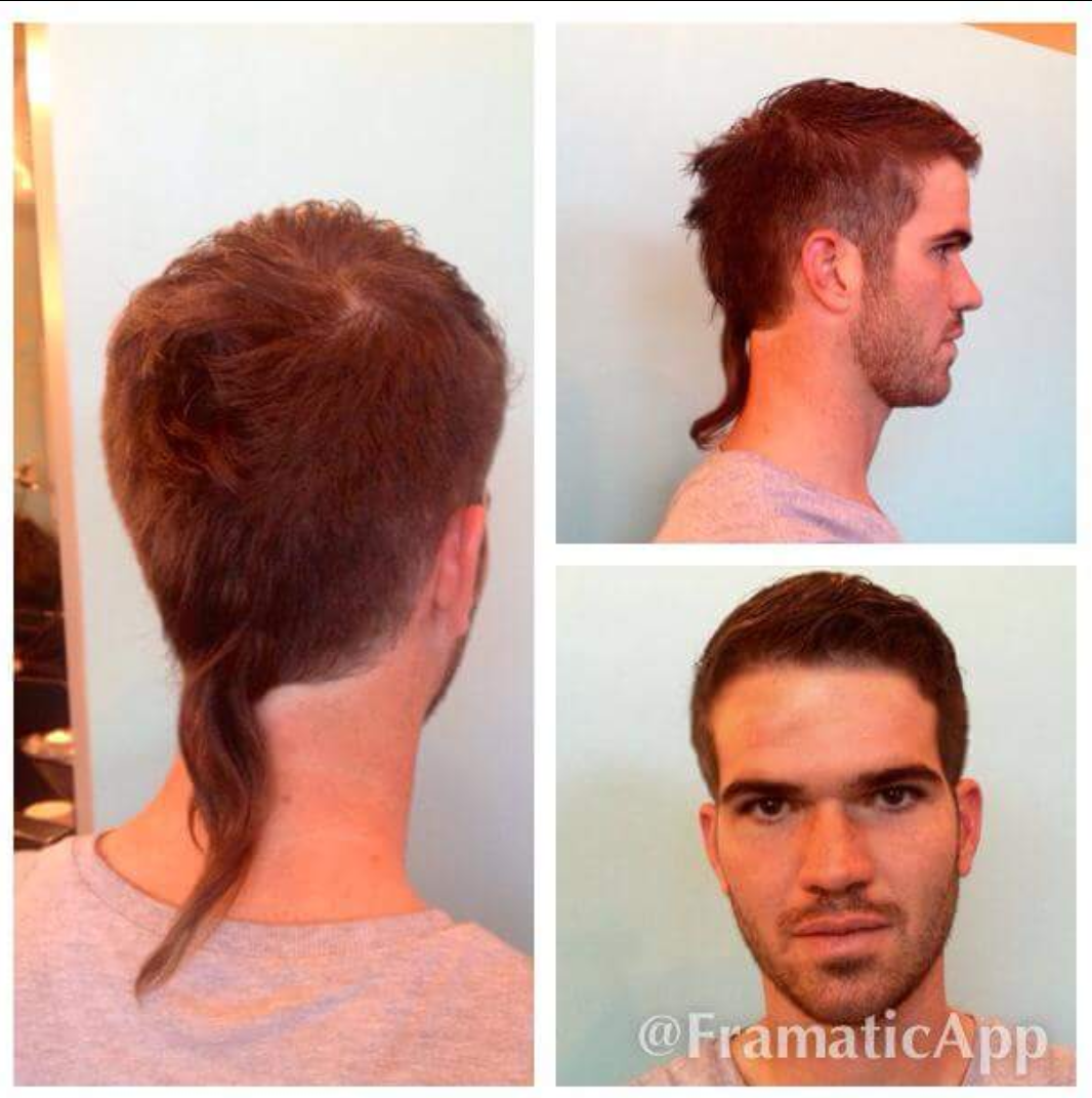 man with short hair and long rattail